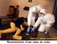 Techniciens en identification criminelle scène de crime
