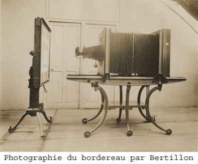 photographie bordereau dreyfus bertillon police scientifique
